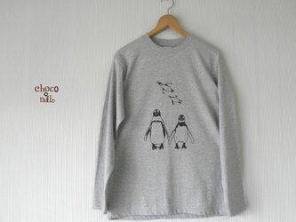 ペンギン長袖Tシャツ (メンズ/杢グレー)の画像