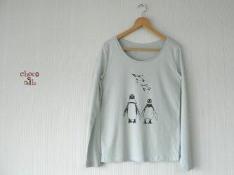 仲良しペンギン長Tシャツ (レディース/ミント)の画像