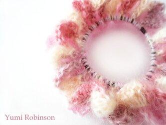 ふんわりモヘアのもこもこシュシュ*ピンク系の画像