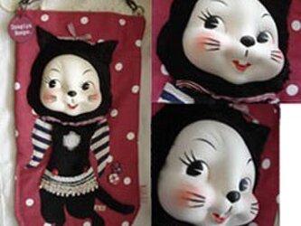 ビンテージ50sフェイス黒猫さんのドール装着ブックバッグ*の画像