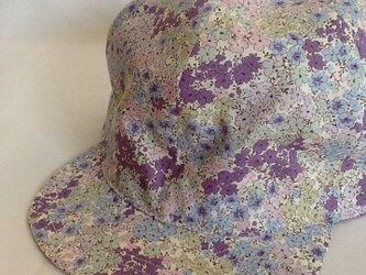 小花柄キャップ 花畑紫の画像