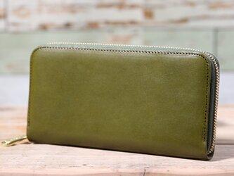 栃木レザー ラウンドファスナー 長財布 グリーン 皮革の画像