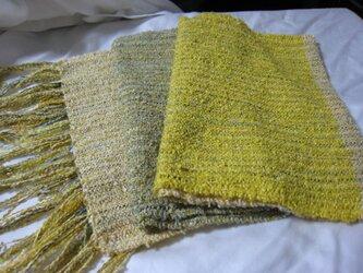 草木染め シルク100%手織りストール(黄×緑)の画像