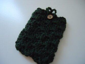 松編みの携帯ケース(緑)の画像