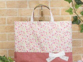 花柄&リボンのレッスンバッグ(通園袋):ピンクの画像
