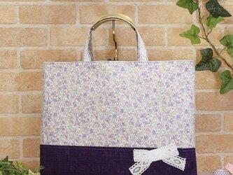 花柄&リボンのレッスンバッグ(通園袋):紫色の画像