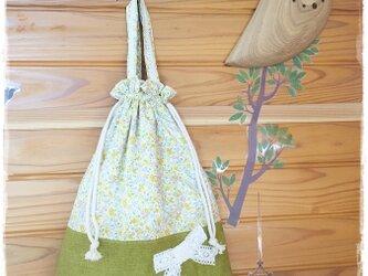 花柄&リボンの着替え袋(体操着袋):黄色の画像