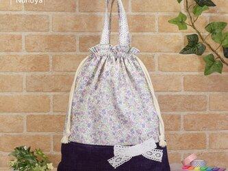 花柄&リボンの着替え袋(体操着袋):紫色の画像