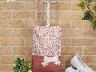 花柄&リボンのシューズバッグ:ピンク色の画像