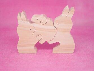 木のおもちゃ 動物組み木 うさぎとひつじの画像