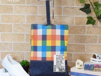 カラフルチェックのシューズバッグ:ORANGEの画像