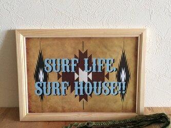 ネイティブ柄ポスター(SURF BLUE)の画像