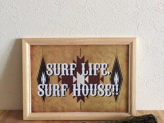 ネイティブ柄ポスター(SURF WHITE)の画像