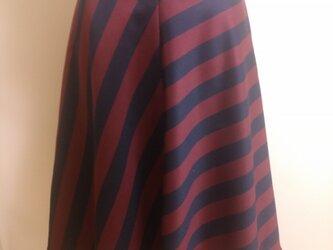 センターシーム入りバイアスフレアースカートSTRIPEの画像
