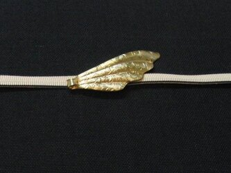 真鍮ブラス製 レトロデザイン羽型帯留め 着物や浴衣の締め飾りにの画像
