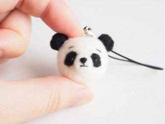 まゆパンダ 携帯クリーナーストラップ※受注製作 羊毛フェルト(アクレーヌ製)の画像