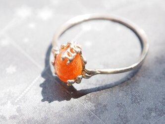 まるでお日様!オレンジサンストーントーンのリングの画像