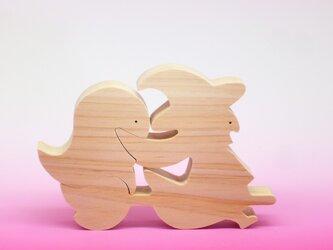 送料無料 木のおもちゃ 動物組み木 魔女とオバケ(ハロウィン)の画像
