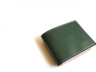 【受注生産品】二つ折り財布 〜栃木アニリン緑×栃木サドル〜の画像