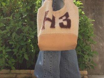 レザーとウールブランケットバッグ ベージュの画像