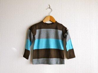 ワイドボーダーの長袖カットソー (100cm)の画像