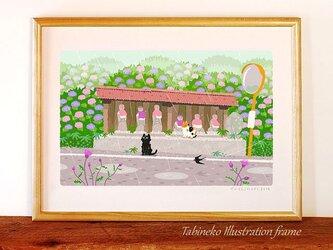 たびねこイラストフレーム-17 雨の地蔵堂の画像