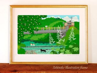 たびねこイラストフレーム-18 夏の川を渡るの画像