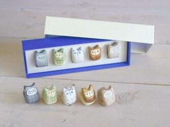 でんでんねこ(5匹ギフト)※専用箱(白×紺)入りの画像