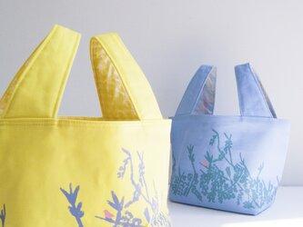森のバッグ(blue/lining yellow)の画像