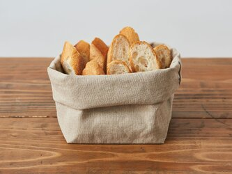 【3月末完成後お届け】ブレッドバスケット(リネン帆布のパン袋)Lサイズの画像