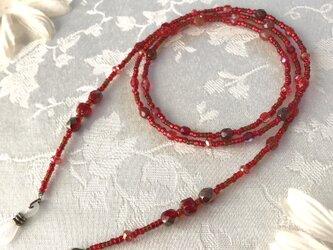 チェコガラスメガネチェーン 赤の画像