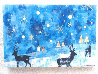 雪の空とトナカイ(転写)の画像