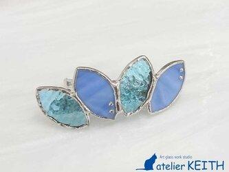 ステンドグラス製バレッタ【Leaf】水色(ブルー)の画像