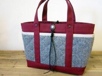 「wool tote」S ボルドー×ヘリンボーンの画像
