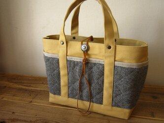 「wool tote」S クリーム×ヘリンボーンの画像