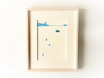 【受注制作】「静かな海」イラスト原画 ※額縁入りの画像