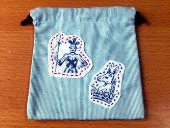クラシックプリント巾着(甲冑×ロバ)の画像
