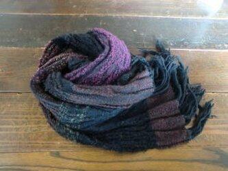 《手織り》のびのびストレッチのウールマフラーの画像