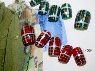 【選べる2色】秋冬チェックネイルチップの画像