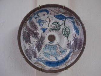 白化粧の器 大皿 海への画像