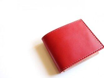 【受注生産品】二つ折り財布 〜栃木アニリン赤×栃木サドル〜の画像