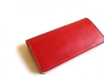 【受注生産品】長財布 ~栃木アニリン赤×栃木サドル~の画像