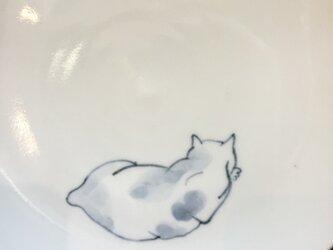 染付5寸猫皿 41の画像