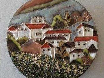 陶板画 風景画スペインの小さな街から 春の画像