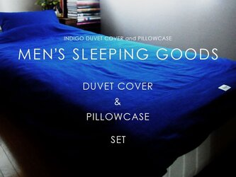 布団カバーセット / Indigo duvet cover and pillowcaseの画像