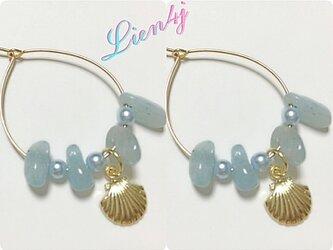 恋愛成就☆アクアマリンと貝殻の可愛らしいピアスの画像
