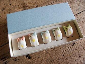でんでんねこ★ブチネコ(5匹ギフト)※専用箱(水色×白)入りの画像