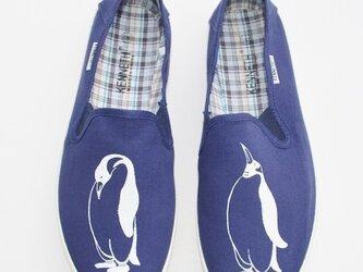 〔メンズ〕ペンギンスリッポン、ネイビー、シューズ、靴、オリジナルの画像