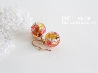 【sold】朝焼けを閉じ込めて★ベネチアンガラスの耀きピアスの画像
