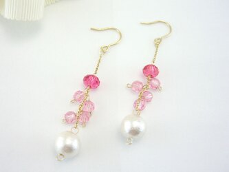 K14GF Swarovski pink and cotton pearl pierced earringの画像